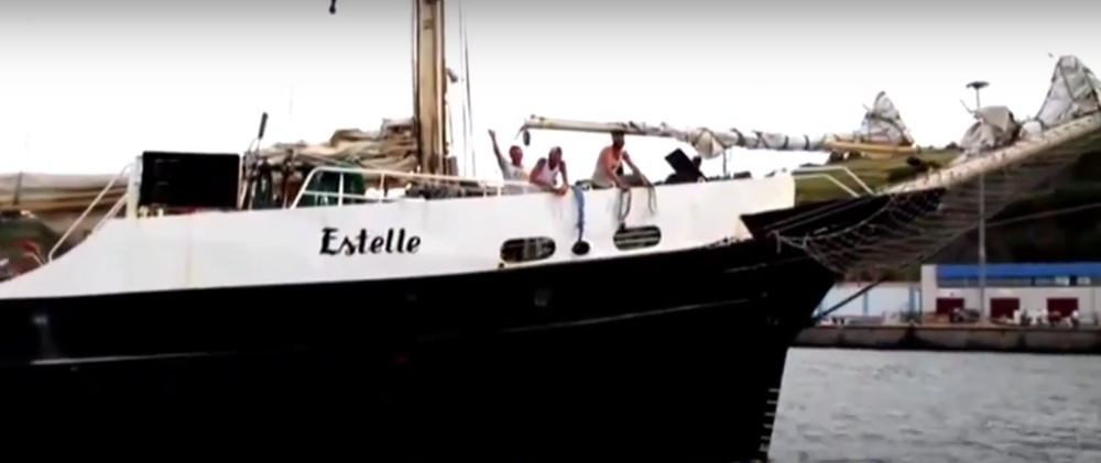 "The ship to Gaza, ""Estelle,"" which sailed to in protest against the Gaza blockade in 2012. Credit: Screenshot from Ship to Gaza via YouTube."