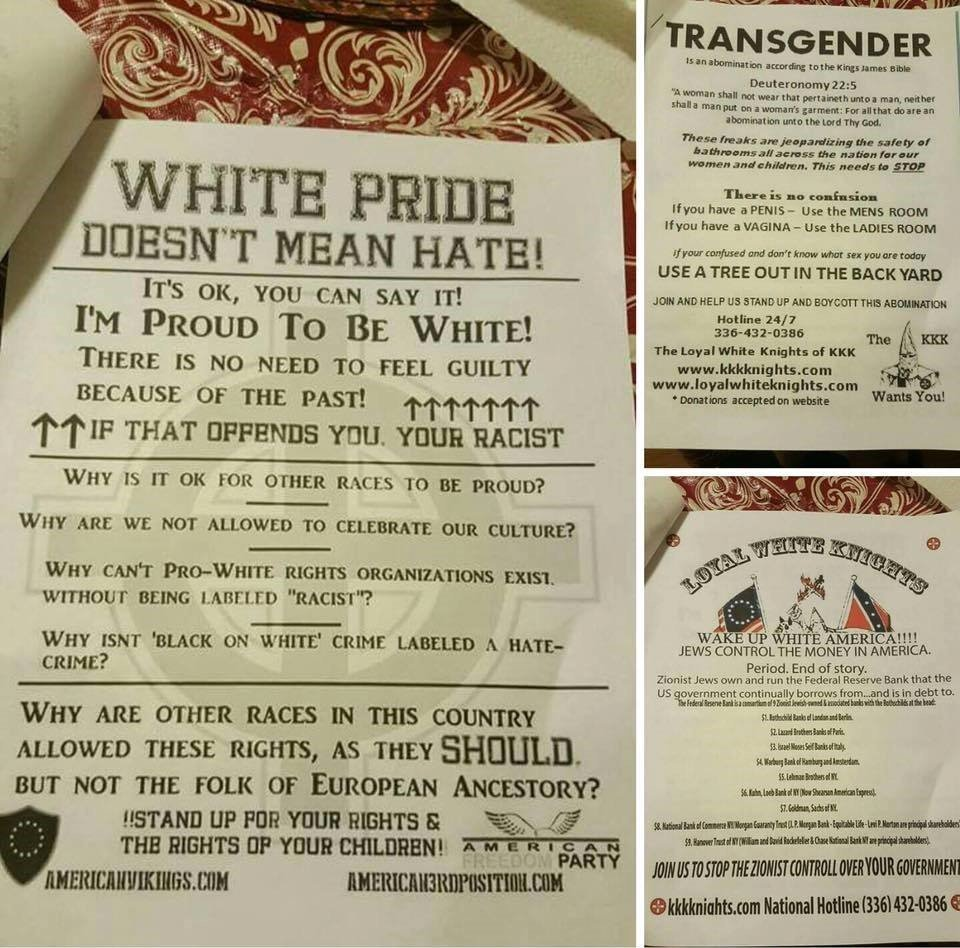 "These fliers distributed by the Ku Klux Klan said that ""Jews control money in America""(left bottom), and also insulted African Americans and the LGBTQ community. Credit: The ADL."