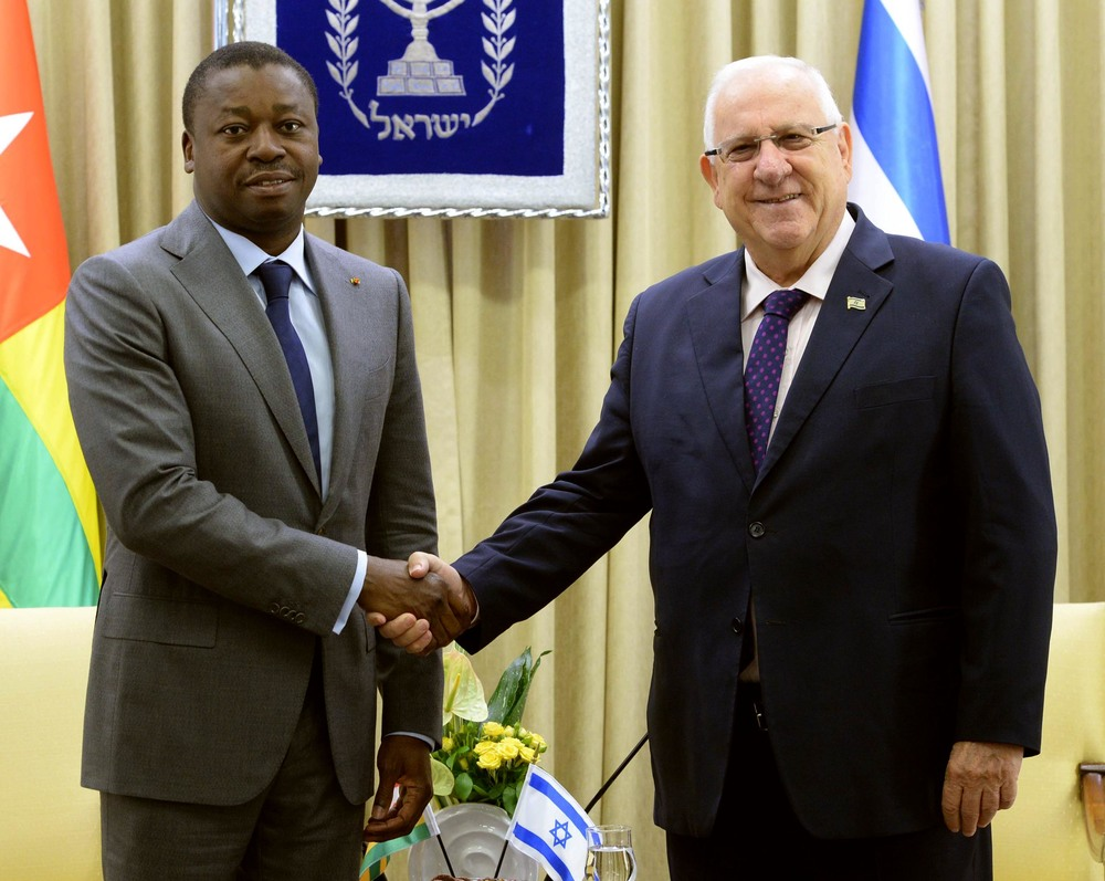 Israel President Reuven Rivlin and Togo President Faure Gnassingbé in Israel, August, 10 2016. Credit: Mark Neiman via Israel Government Press Office.