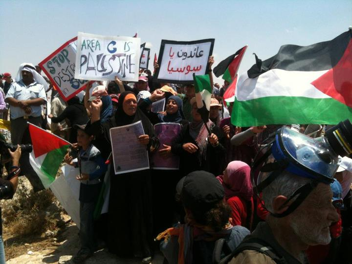 A Palestinian demonstration against Israeli demolition of the village of Susiya. Credit: Wikimedia Commons.