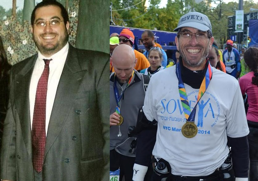 Before and after weight loss of Rabbi Eli Glaser, founder of health and wellness consulting company . Credit: Courtesy.