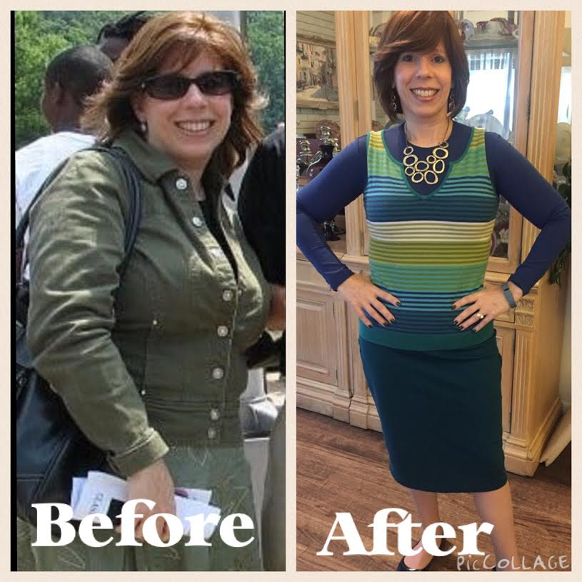 Baltimore health coach Stacy Spigelman before and after her weight loss. Credit: Courtesy.