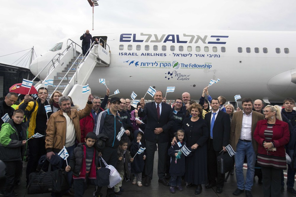 Ukrainian Jews who arrived on a special Fellowship flight to Israel recently. Credit: The Fellowship.