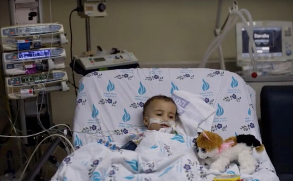 """16-month-old """"Yaya"""" in the hospital in Israel. Credit: YouTube screenshot."""