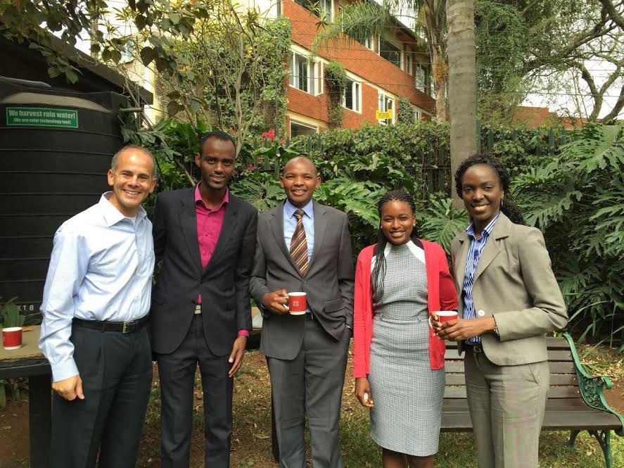 Jeremy Lustman (left) with East African lawyers. Credit: Eliana Rudee