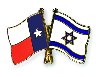 The Texas flag and the Israeli flag. Credit: www.crossed-flag-pins.com.