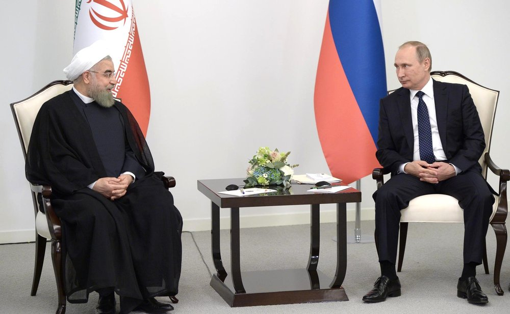 Russian President Vladimir Putin with Iranian President Hassan Rouhani during a visit to the Republic of Azerbaijan on August 8, 2016. Credit: The Kremlin.