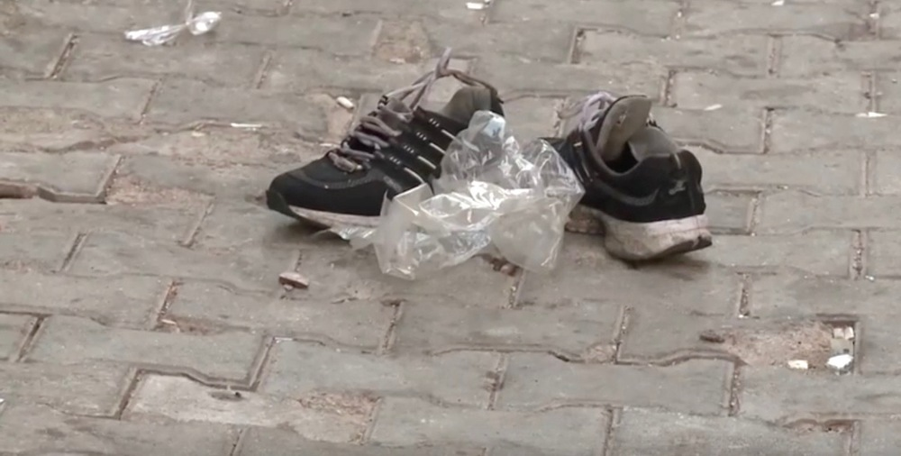 A victim's shoes remaining at the site of the terror attack that occurred at wedding party in the Turkish city of Gaziantep on Saturday. Credit: YouTube screenshot.