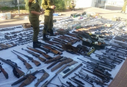 The weapons found at factories during the raid. Credit: Israel Police spokesperson.