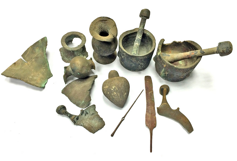 The metal artifacts, the earliest of which are 3,500 years old, which were recently presented to the Israel Antiquities Authority (IAA). Credit: Diego Barkan/IAA.