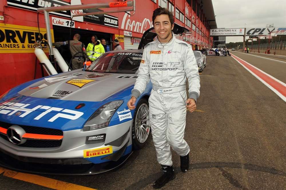 Alon Day next to his Mercedes race car. Credit: Alon Day