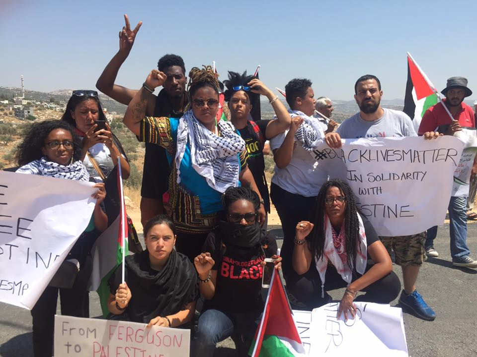 A Black Lives Matter delegation in the Palestinian Bilin village in the West Bank. Credit: Facebook post @BlackLivesMatter
