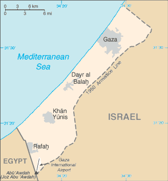 The Gaza Strip on the map. Credit: CIA World Facebook via Wikimedia Commons.