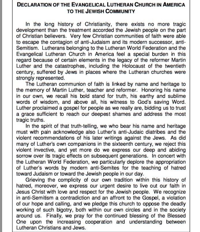 "Text of the 1994 ""Declaration of the Evangelical Lutheran Church in North America to the Jewish Community,"" in which the Lutheran Church repudiated Martin Luther's anti-Semitic writings. Credit: Screenshot from ELCA.org."