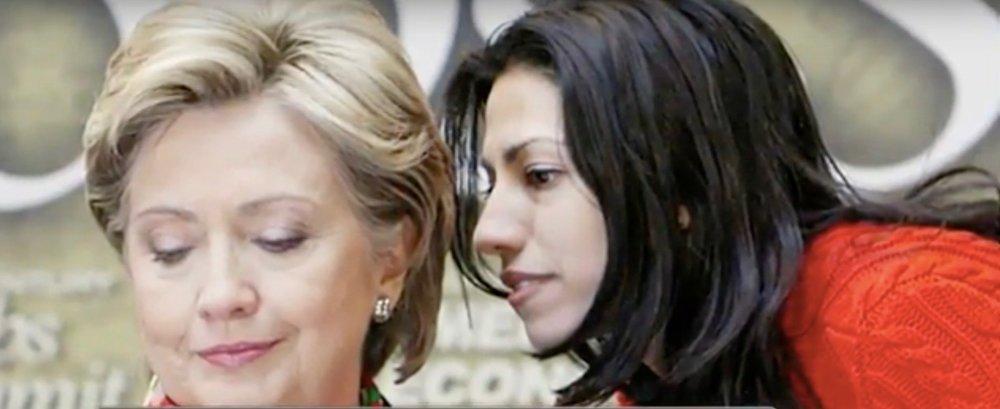 Hillary Clinton and Huma Abedin. Credit: YouTube screenshot.