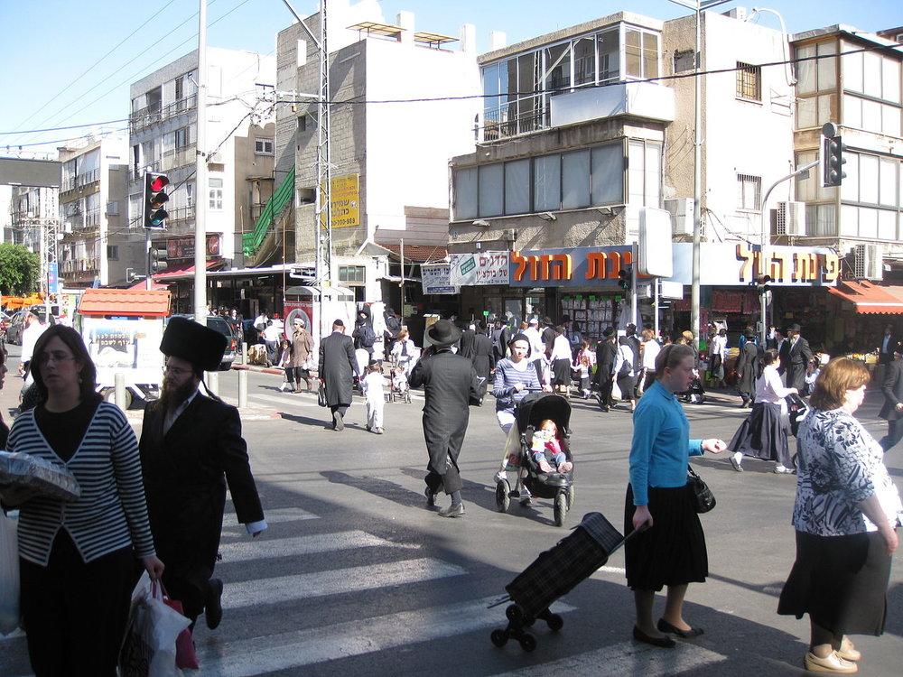 A street scene in the predominately haredi Israeli community of Bnei Brak. Credit: Wikimedia Common.