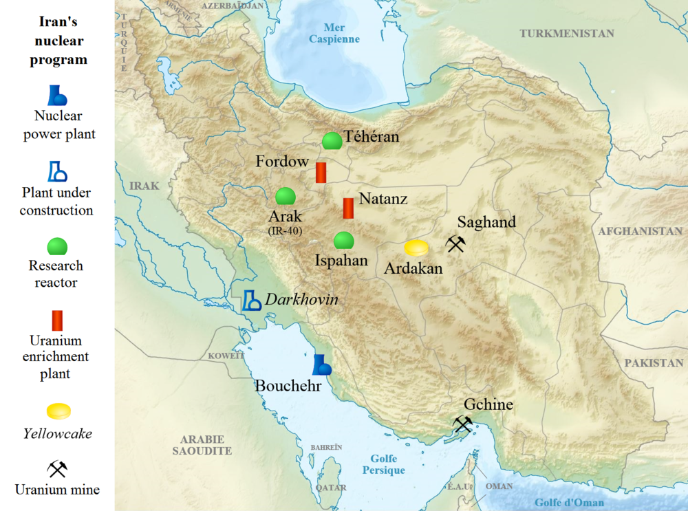 A map showing the location of Iran's nuclear sites. Credit: Wikimedia Commons.