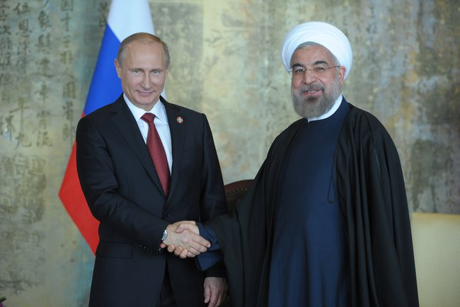 Russian President Vladimir Putin with Iranian President Hassan Rouhani in 2014. Credit: Wikimedia Commons.