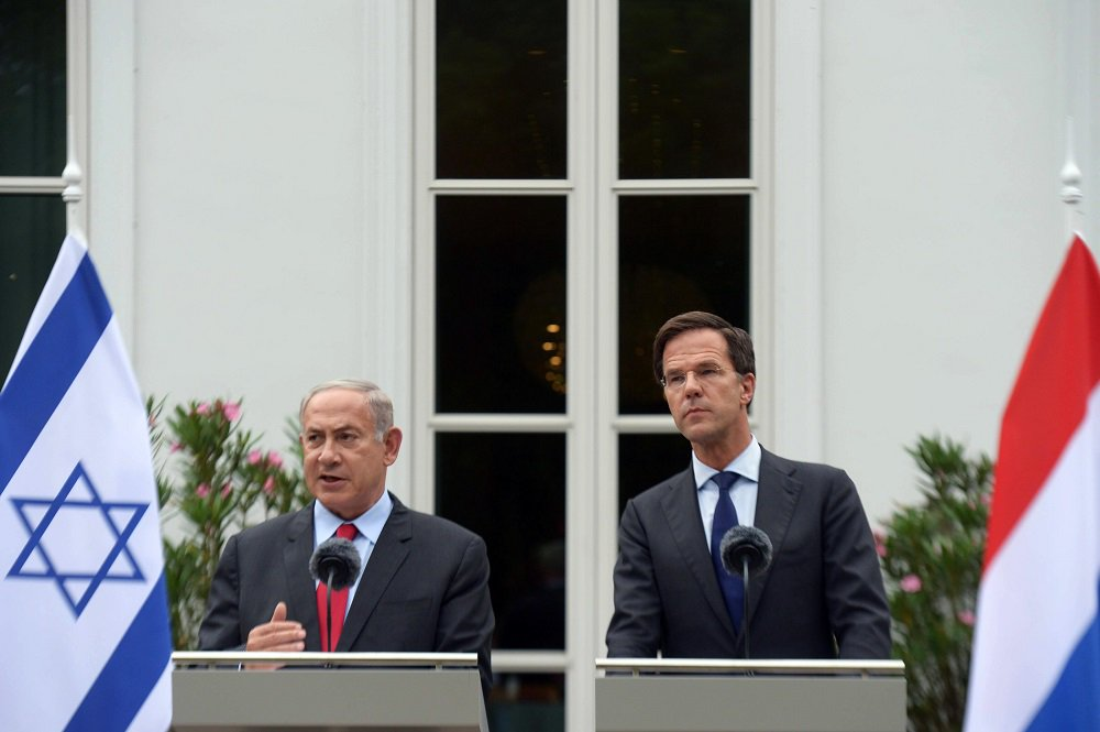 Israel's Prime Minister Benjamin Netanyahu and Dutch Prime Minister Mark Rutte on Tuesday. Credit: Amos Ben Gershom/GPO.