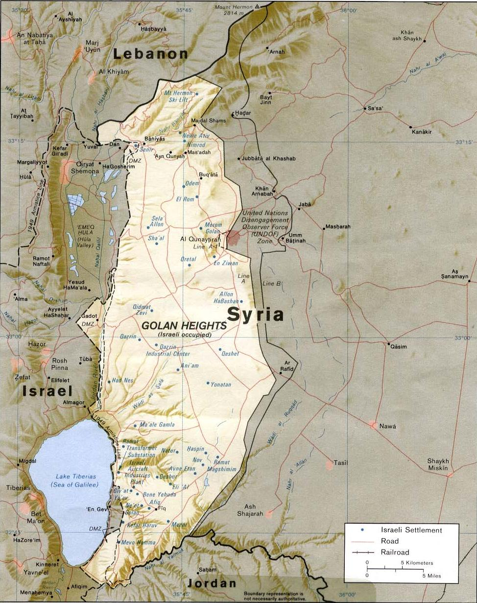A map showing the Golan Heights. Credit: Wikimedia Commons.