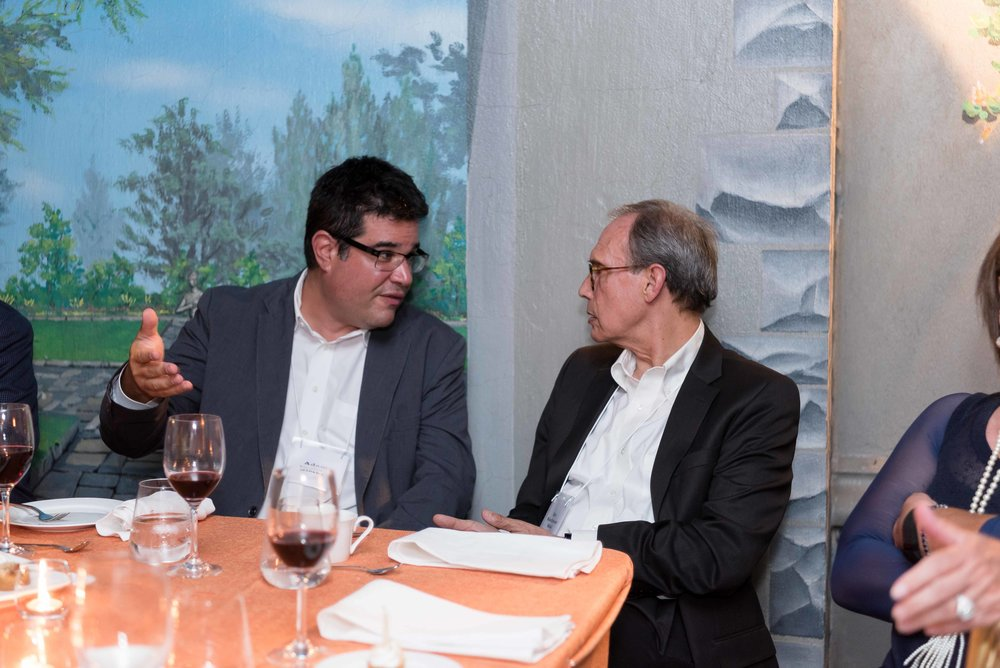 Adam Minsky, President and CEO of the UJA Federation of Greater Toronto, shares his thoughts with Israeli MK Nachman Shai  (Labor/Zionist Camp). Credit: Liora Kogan.