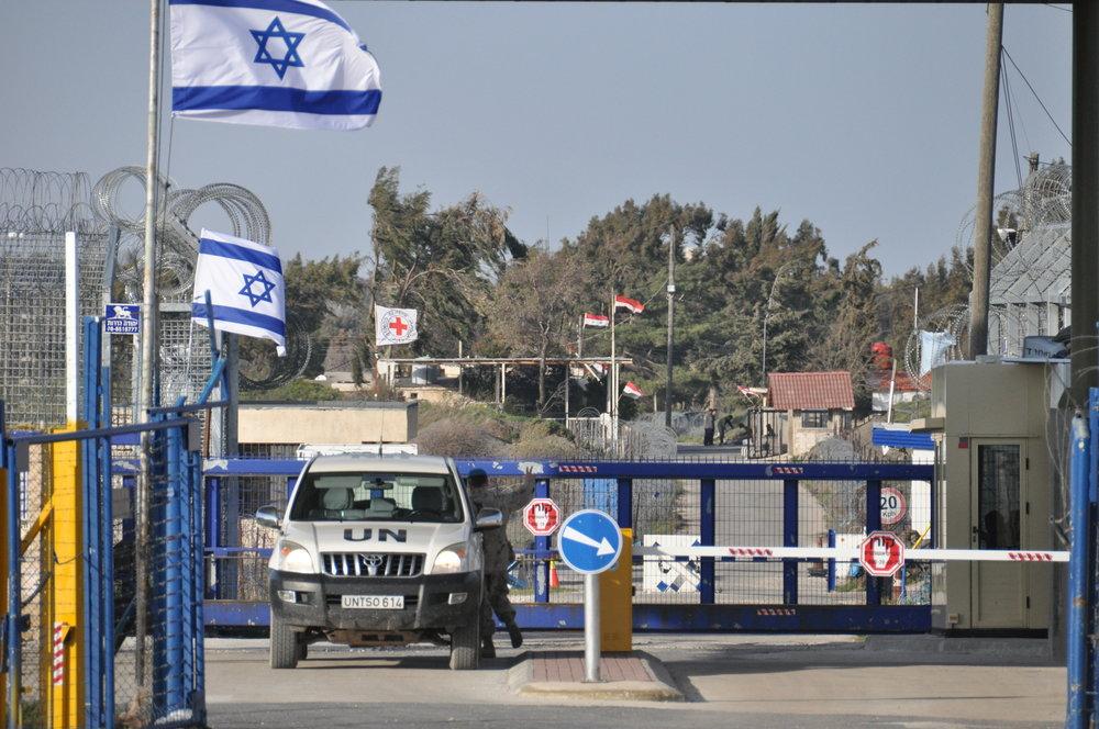 The border between Israel and Syria in the Golan Heights.