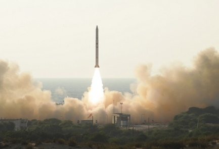 The launch of the Ofek-11 satellite, Tuesday. Credit: Israeli Defense Ministry's Administration for the Development of Weapons and Technological Infrastructure