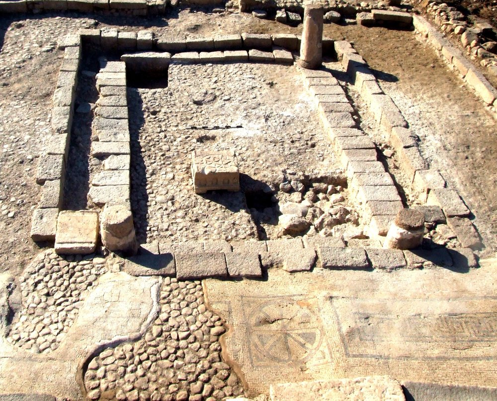 The remains of the Second Temple-era synagogue excavated at Magdala, in which Jesus may have taught. Credit: Magdala.org.
