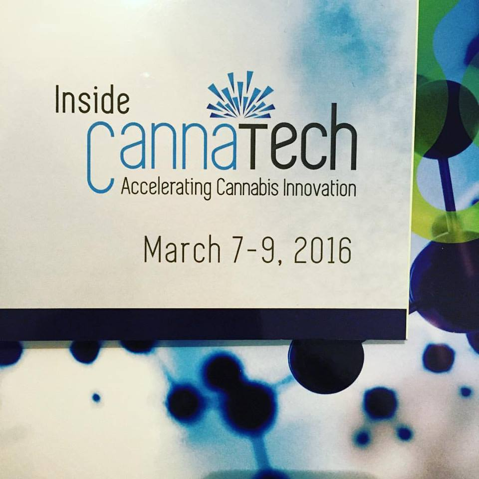 A sign advertising Israel CannaTech conference earlier this year. Credit: CannaTech.