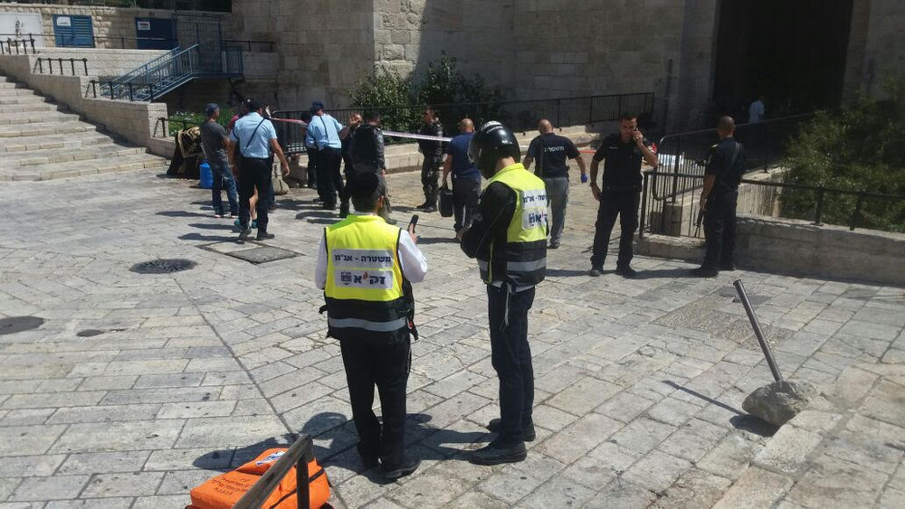 Zaka volunteers near the scene of an attempted terror attack at the Damascus gate in the Old City of Jerusalem. Credit: Zaka,