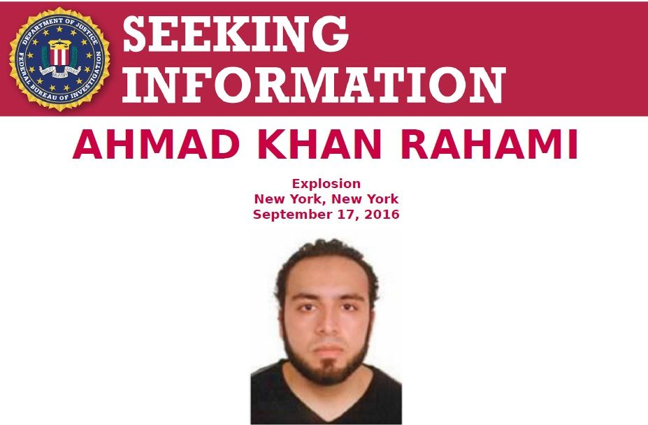 The FBI is seeking information on New York City bombing suspect Ahmad Khan Rahami. Credit: FBI.