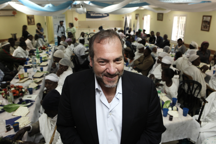 Rabbi Yechiel Eckstein, founder and president of the International Fellowship of Christians and Jews (IFCJ), attends a Passover seder with newly arrived Jewish immigrants from Ethiopia in Mevasseret Zion, near Jerusalem, on April 02, 2012. Credit: Photo by Kobi Gideon/Flash90.