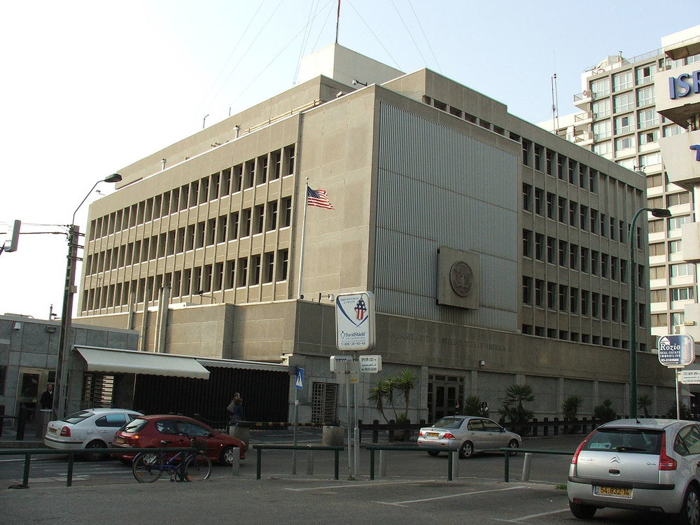The U.S. Embassy in Tel Aviv. Credit: Wikimedia Commons.
