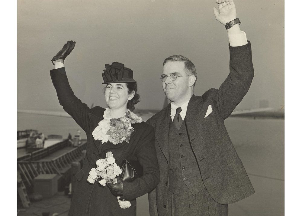 Martha and Waitstill Sharp, the subject of the new documentary, leaving for Prague in 1939. Credit: Sharp Family Archives.