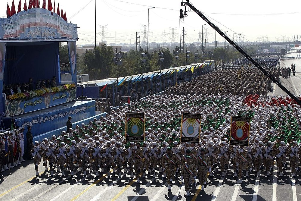 The Iranian military parade commemorating the 1980 Iraqi invasion on Wednesday. Credit: Getty Images.