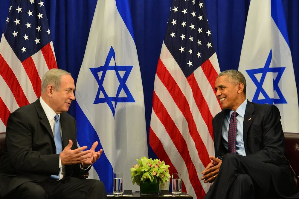 Israeli Prime Minister Benjamin Netanyahu and U.S. President Barack Obama at their meeting at New York's Palace Hotel on Wednesday. Credit: Kobi Gideon/GPO.