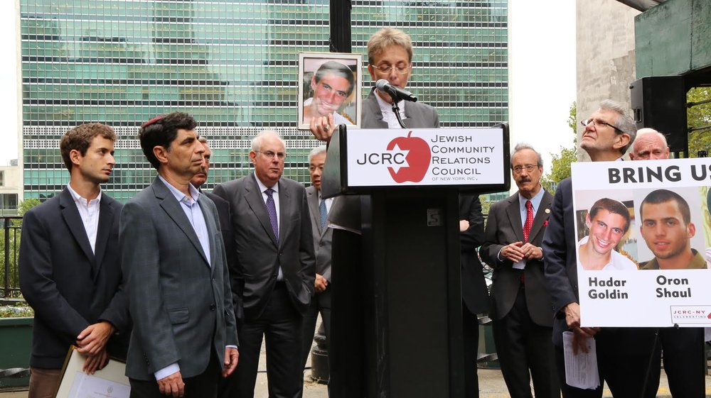 Leah Goldin, mother of Israeli soldier Hadar Goldin, speaking at a press conference in New York. Credit: Courtesy.