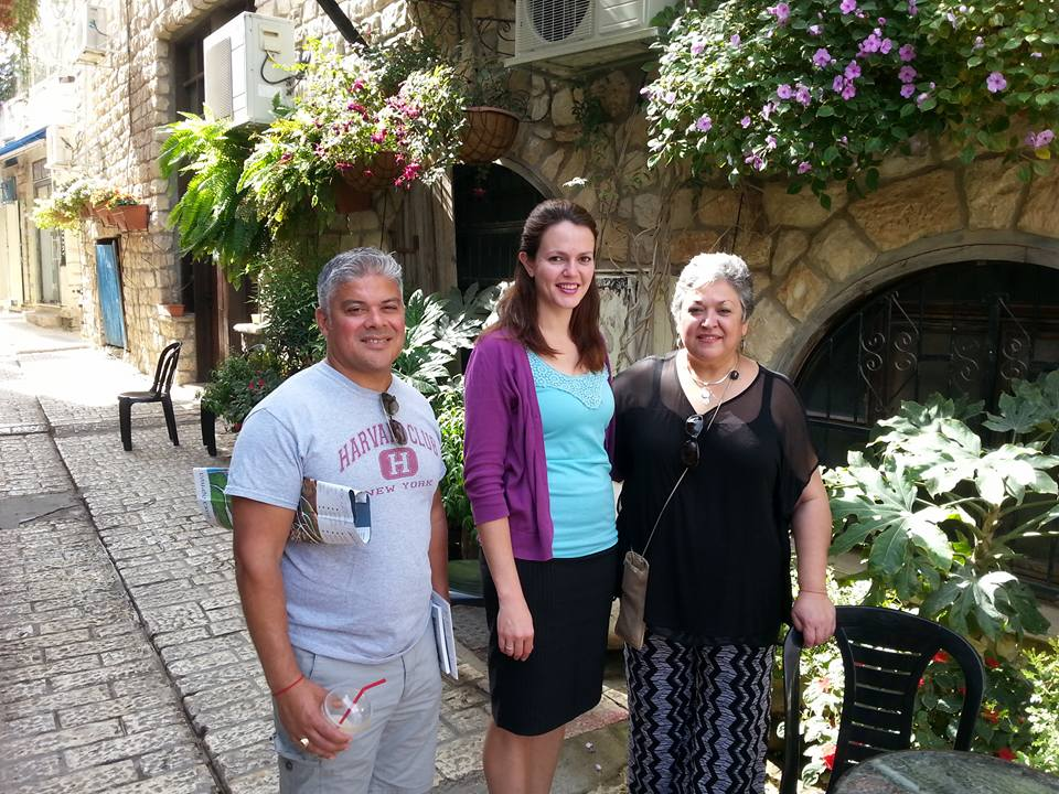 Sonya Loya (right) leads Bnei Anusim on a tour of the ancient Sephardic community of Safed. Credit: courtesy.