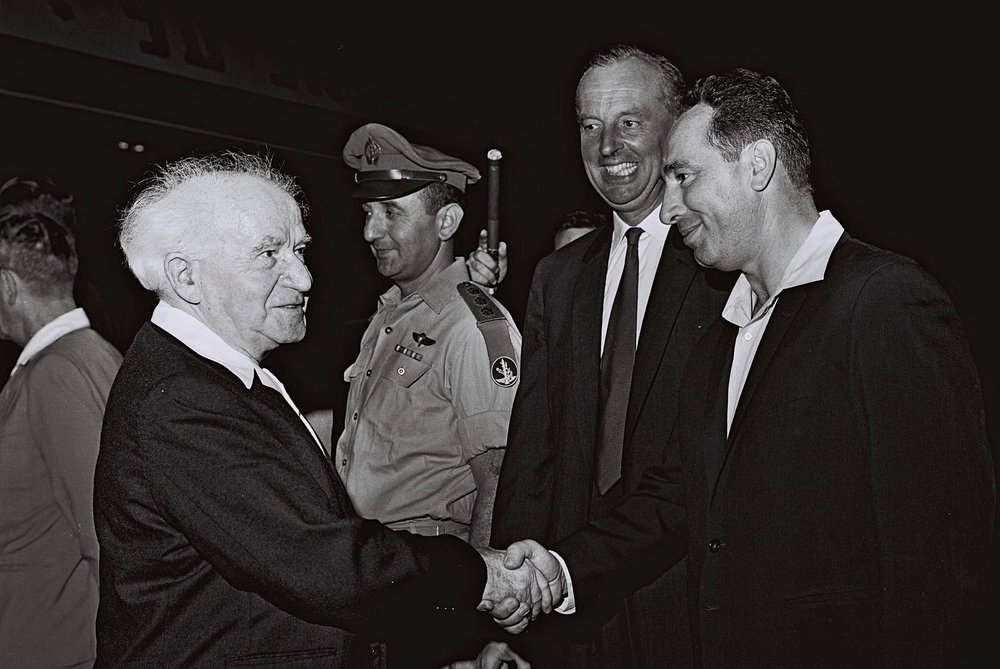 Former President Shimon Peres with then Prime Minister David Ben Gurion in 1962. Credit: The Israeli Government Press Office/Flash90.