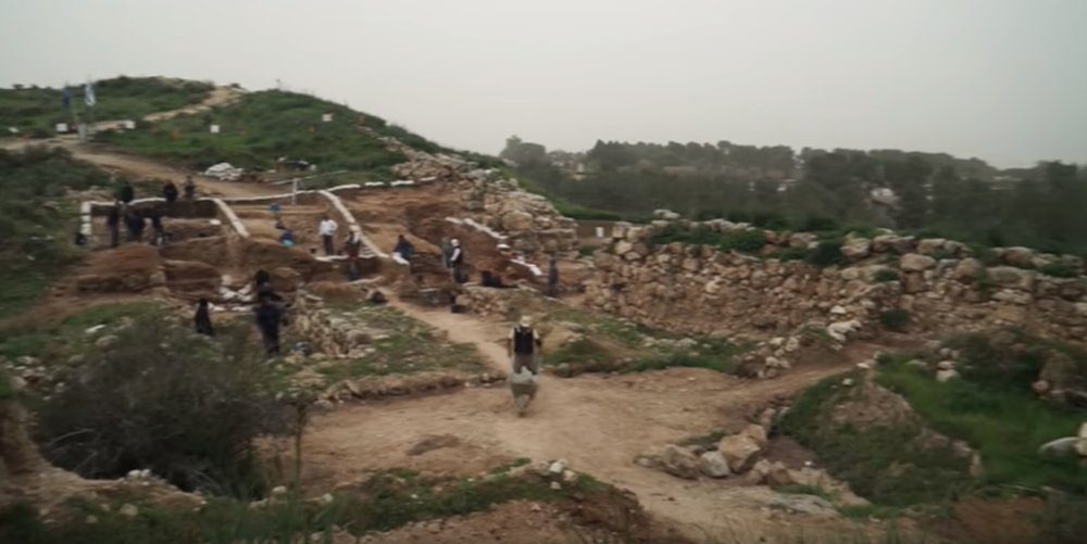 Israel's Tel Lachish National Park archeological excavations uncovering the gate-shrine. Credit: YouTube screenshot