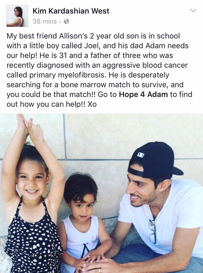 Kim Kardashian, who has a personal connection to Adam Krief, posted this message on her Facebook page. Credit: Facebook screenshot.