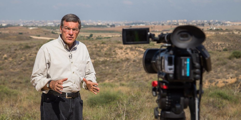 CBN's Chris Mitchell reporting from the frontline during Israel's Operation Protective Edge in 2014. Credit: CBN's Frontline Jerusalem.