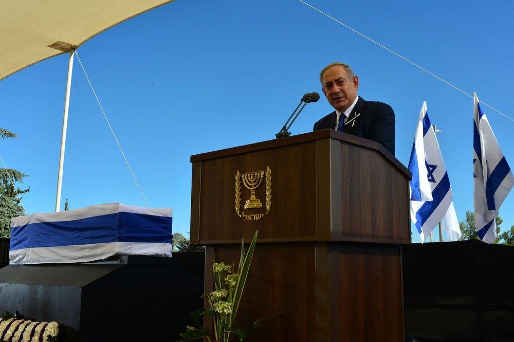 Israeli Prime Minister Benjamin Netanyahu speaking at the funeral of former Israeli President Shimon Peres. Credit: Kobi Gideon/GPO.