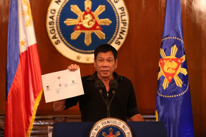 Philippine President Rodrigo Duterte presents a chart illustrating a drug trade network of high level drug syndicates in the Philippines during a press conference in July. Credit: Wikimedia Commons.