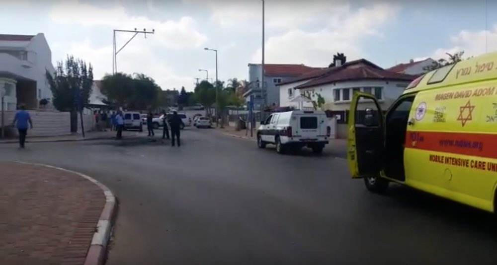 The scene of the rocket attack in Sderot, Israel. Credit: YouTube screenshot.