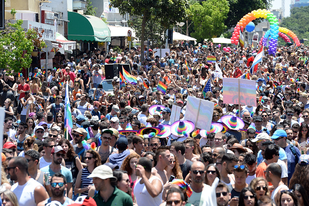 Tel Aviv gay pride parade in 2015. Credit: Wikimedia Commons.