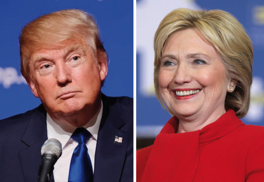 Republican nominee Donald Trump and Democratic nominee Hillary Clinton. Credit: Wikimedia Commons.