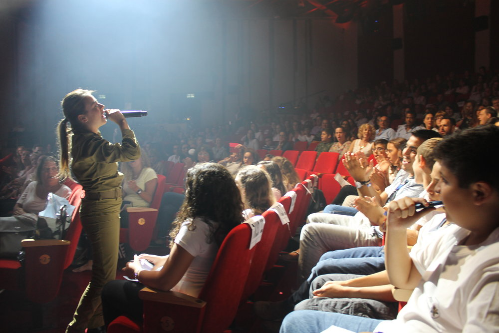 An IDF choir member singing at the event. Credit: Sam Sokol.