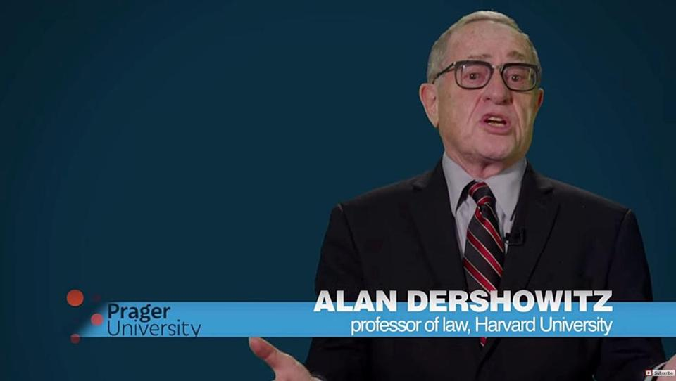 Alan Dershowitz video for Prager University. Credit: YouTube screenshot.