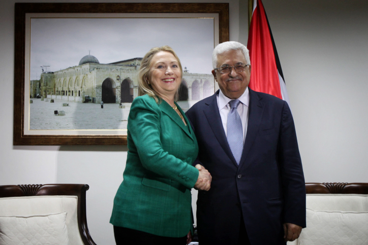 Democratic nominee Hillary Clinton with Palestinian President Mahmoud Abbas in Ramallah, Nov. 2012. Credit: Issam Rimawi/FLASH90.